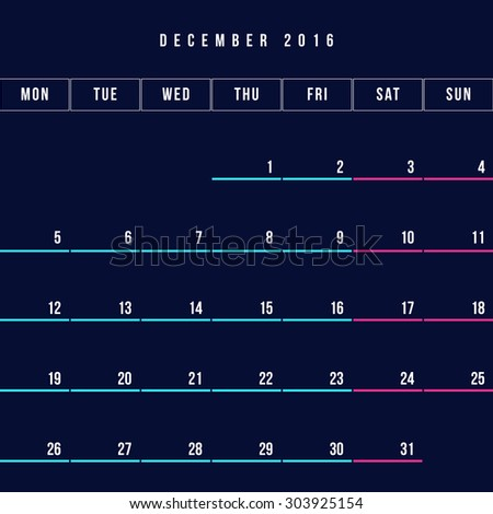 Calendar December 2016 vector design template - Minimalism Style