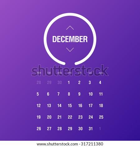 Calendar 2016. December. Week Starts Monday - stock vector
