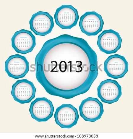 Calendar design 2013 - stock vector