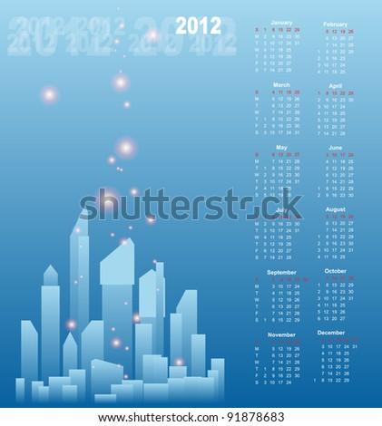 Calendar Design 2012 - stock vector