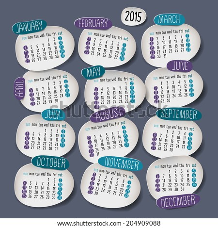 Calendar 2015 design, English, Sunday start. Vector illustration - stock vector