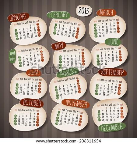 Calendar 2015 design, English, Sunday start. Vector illustration - stock vector