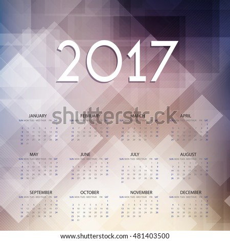 Calendar design for 2017 with low poly image