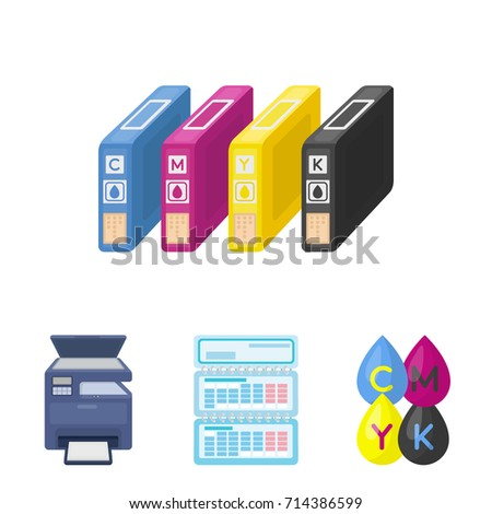 Calendar Drops Paint Cartridge Multifunction Printer Stock Vector