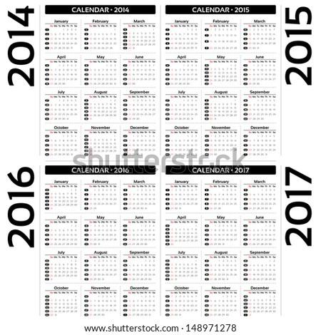 Calendar 2014, 2015, 20126, 2017 - EPS10 vector - stock vector