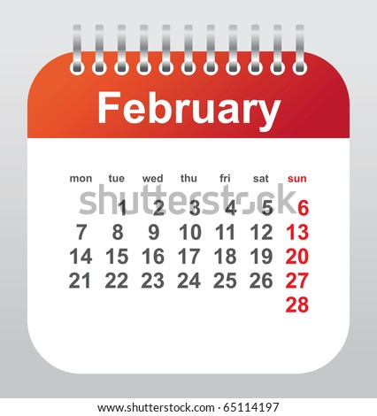 calendar 2011: february - stock vector