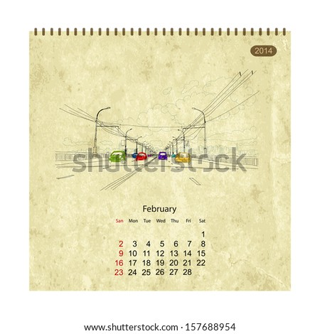 Calendar 2014, february. Streets of the city, sketch for your design - stock vector