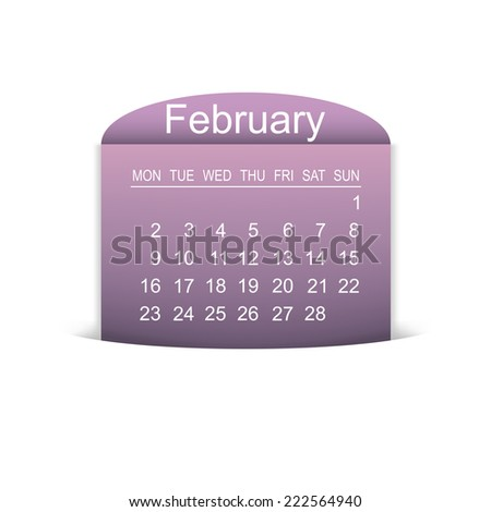 Calendar February 2015. Vector illustration
