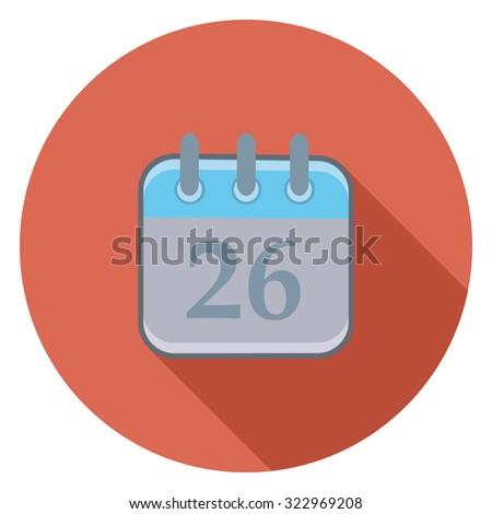 calendar flat icon in circle - stock vector