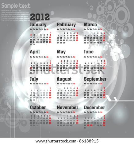 calendar for 2012 - stock vector