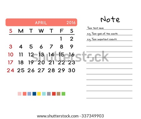 Calendar for April 2016. Week Starts Sunday. Clean and Simple Vector Template with color palette