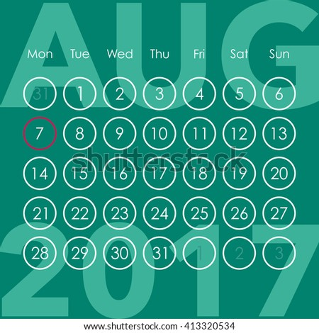 Calendar for 2017. August. Week starts from Monday. Vector template