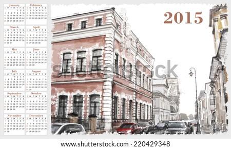 calendar for 2015. Cityscape. Vintage style. - stock vector