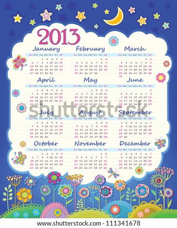 Calendar for 2013. Cloud in the night sky. Children applique flowers. Week starts on Sunday - stock vector