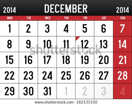 Calendar for December 2014 - stock vector