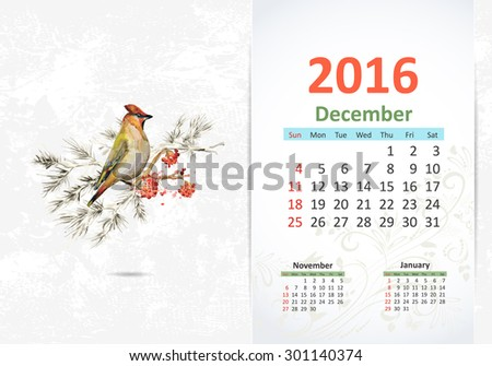 Calendar for 2016, December - stock vector