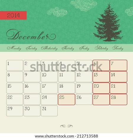 Calendar for December 2014, vector - stock vector