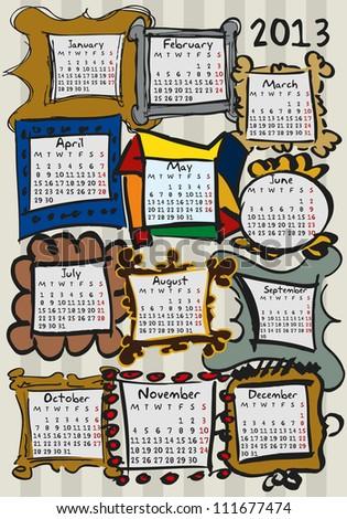 calendar for 2013, doodle, frames - stock vector