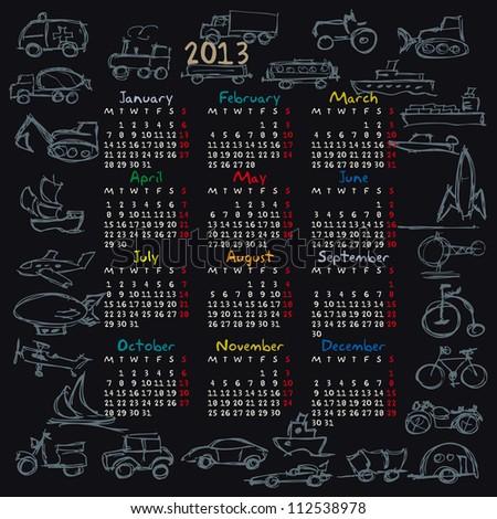 calendar for 2013, doodle, vehicles - stock vector