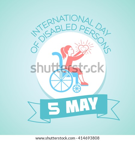 Calendar for each day on may 5. Greeting card. Holiday - International Day of Disabled Persons. Icon in the linear style - stock vector