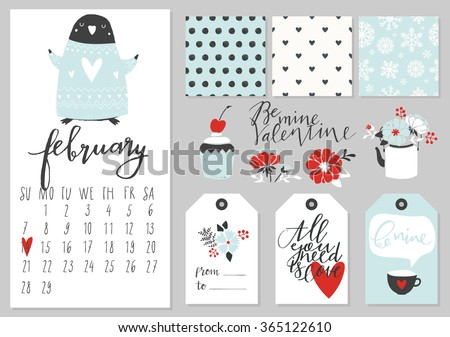Calendar for february 2016 with penguin. Elements, tags, patterns, bouquets and calendar for Valentine's Day. - stock vector