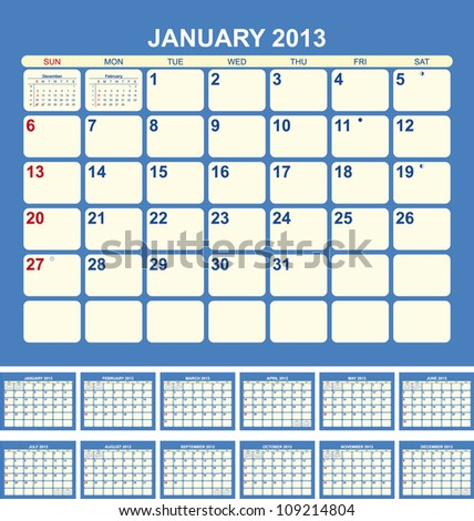 Calendar for 2013 in English - stock vector