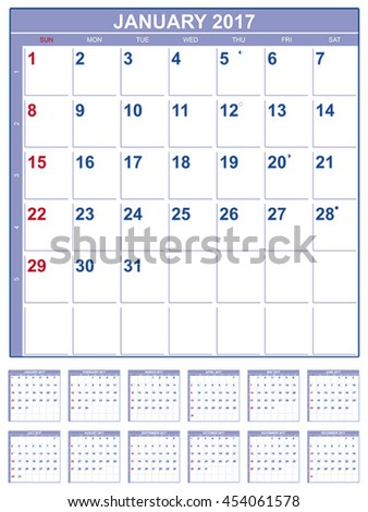 Calendar for 2017  in English - stock vector