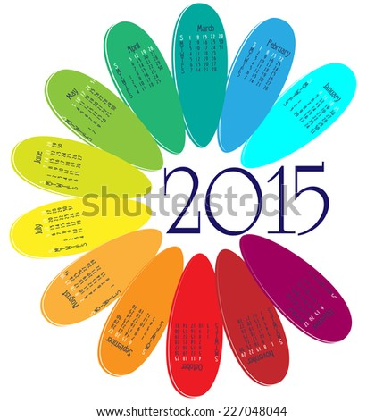 Calendar for 2015 in the form of a flower - stock vector