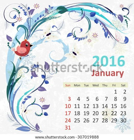 Calendar for 2016, January - stock vector