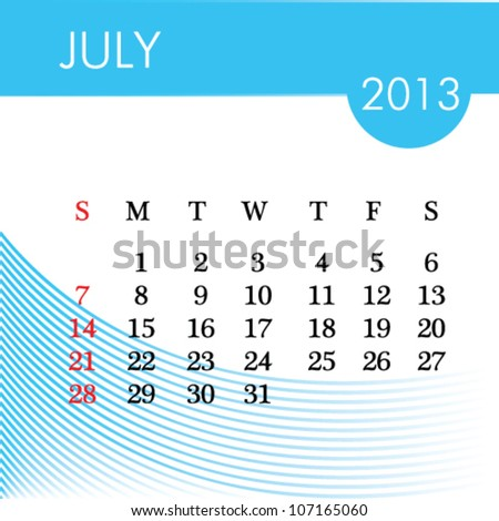 calendar for 2013 july illustration - stock vector