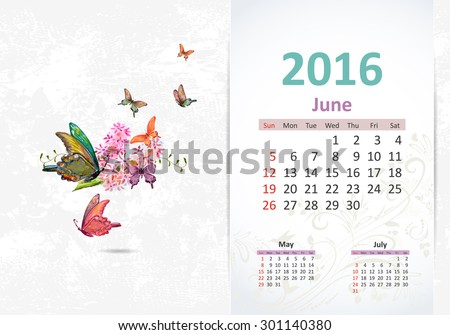 Calendar for 2016, june - stock vector