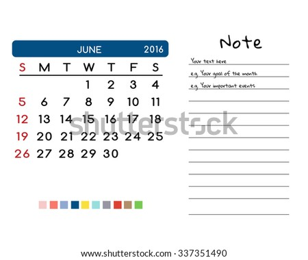 Calendar for June 2016. Week Starts Sunday. Clean and Simple Vector Template with color palette