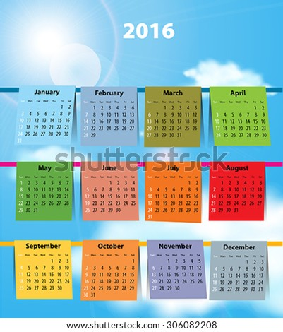 Calendar for 2016 like laundry on the clothesline. Sundays first. Vector illustration - stock vector