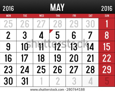 Calendar for May, 2016