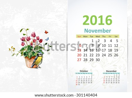 Calendar for 2016, November - stock vector