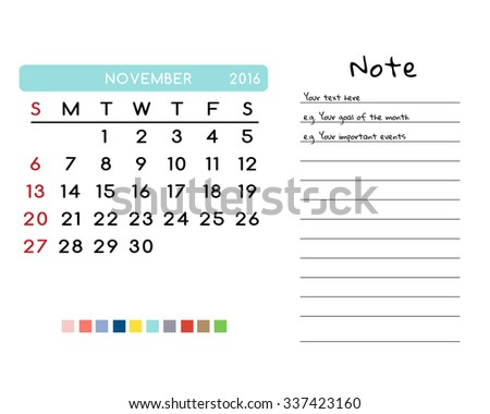 Calendar for November 2016. Week Starts Sunday. Clean and Simple Vector Template with pan tone color palette