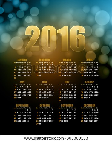 Calendar for 2016 on abstract background. Vector illustration EPS 10
