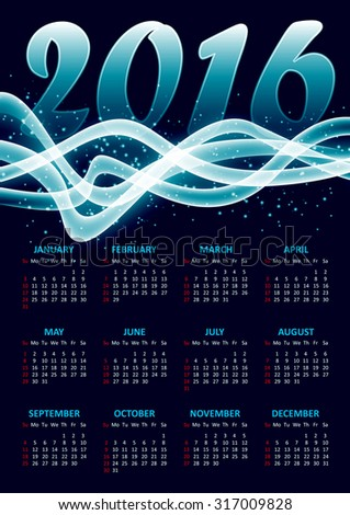 Calendar for 2016 on blue background with abstract glittering sparkling waves.Vector illustration