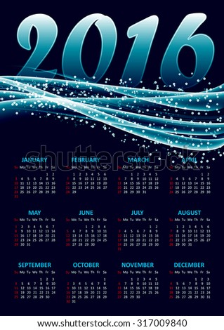Calendar for 2016 on blue background with abstract glittering sparkling waves.Vector illustration - stock vector