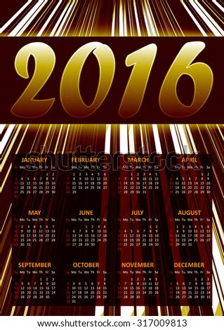 Calendar for 2016 on brown abstract background with glittering stripes.Vector illustration