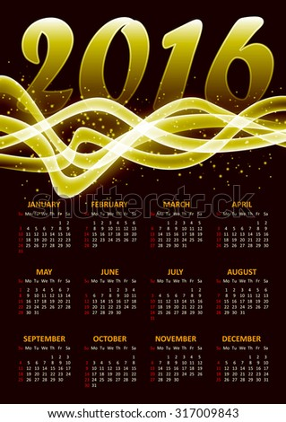 Calendar for 2016 on gold plasma background with abstract glittering sparkling waves.Vector illustration