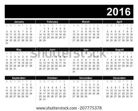 Calendar for 2016 on white background. - stock vector