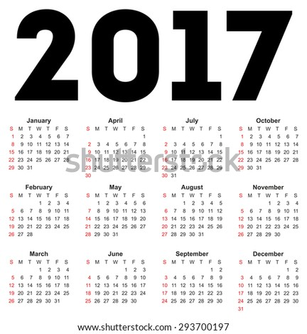 Calendar for 2017 on white background. Vector EPS10.