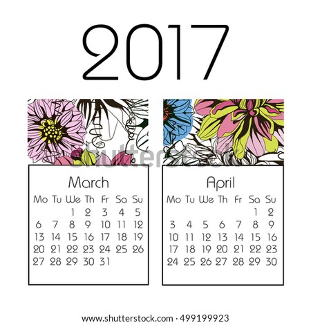 Calendar for 2017 on white background. Vector. spring, March, April