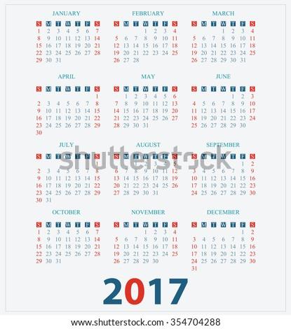 Calendar for 2017 on White Background, week start on sunday, vector illustration. - stock vector