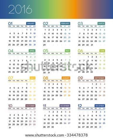 Calendar for 2016 on white background. Week Starts Monday. Set of 12 Months. Simple vector illustration. - stock vector