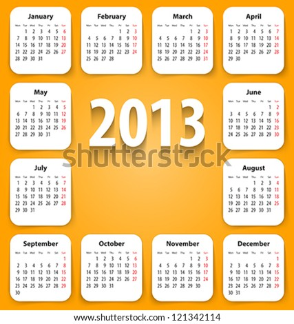 Calendar for 2013 on white stickies. Mondays first. Vector illustration - stock vector