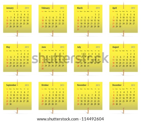Calendar for 2013 on yellow stickers attached with toothpicks. Vector illustration - stock vector