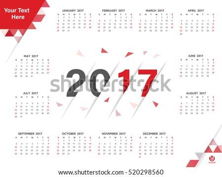 Calendar 2017 Poster Template Explode Polygon Stock Vector 520298560