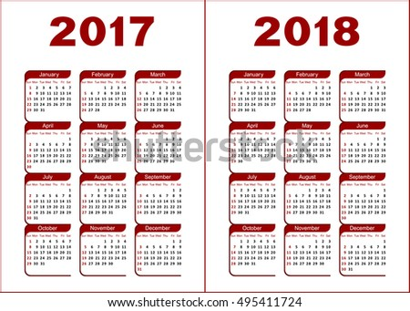 Calendar for 2017, 2018. Red and black letters and figures on a white background.